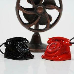 Retro Telephone Dollhouse Miniature DIY Doll House Red/Black 1:12 Scale Dec X0H5