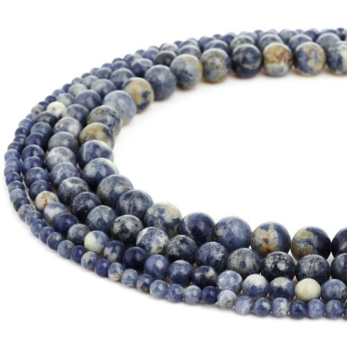 RUBYCA Natural Blue Sodalite Gemstone Round Loose Beads Jewelry Making AAA Grade