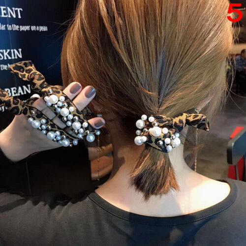 Ins Hot Gute Fashion Frauen Leopard Perle Elastische Haarbänder Haargummi HaZ CL