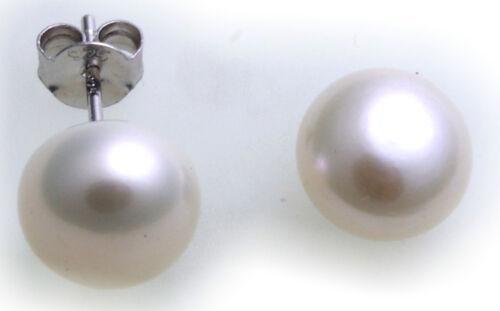 Señora aretes conector perlas 5-9 mm real plata 925 Sterling plata Plata