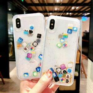 Details about For iPhone XS Max XR App Icon Dynamic Liquid Glitter  Quicksand Clear Case Cover