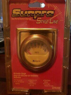 Sunpro Analog StyleLine Mechanical  volt  Gauge  White Face mechanical voltage