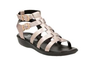 Details about New Clarks Manilla Parham Gladiator Wedge Leather Women Sandals Sz. 9 Sz. 10
