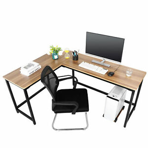 Details About Corner L Shaped Table Wooden Computer Desk Workstation Light Walnut Brown