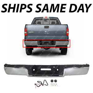 NEW Steel Chrome Rear Step Bumper Bar for 2004 2005 Ford F150 Pickup W// Park