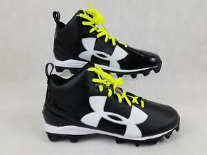 NEW-UNDER-ARMOUR-UA-CRUSHER-RM-FOOTBALL-SHOES-SZ-16-BLACK-128660-001-YELLOW
