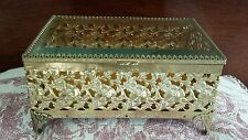 Vintage Ormolu Filigree Gilt Finish Casket Box Beveled GLass Lid Jewelry Box