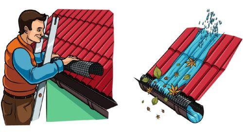 Dachrinnenschutz Laubfang Laubstopp HaGa® 2m lang 125mm-150mm in schwarz