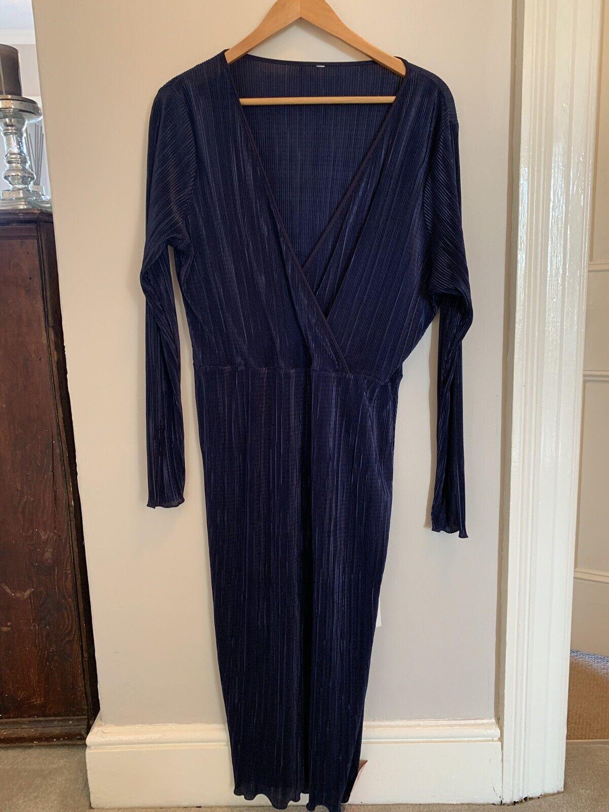 Royal bluee Asos Plise Midi Dress 14 BNWT