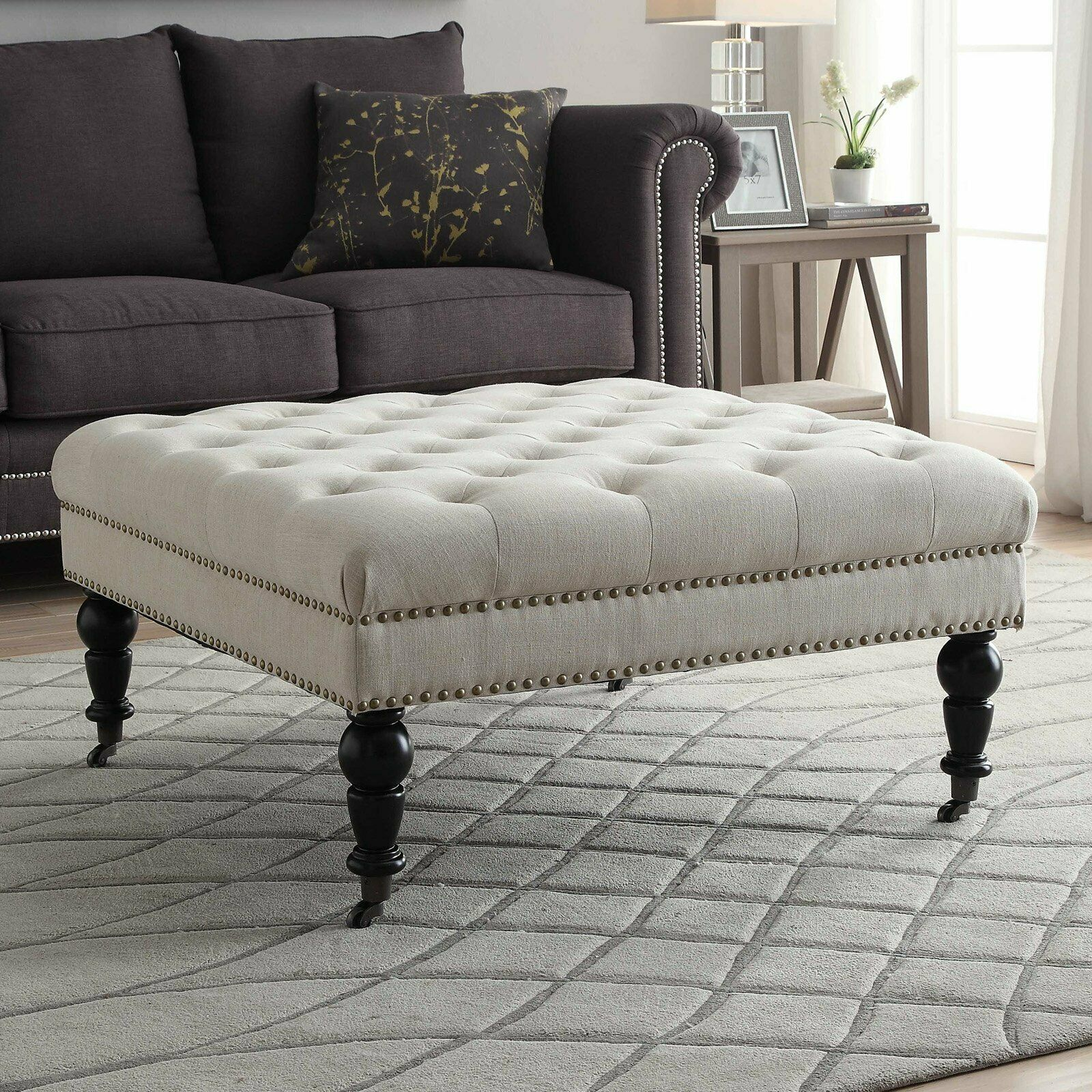 - Modern Tufted Ottoman Coffee Table Square Upholstered Metal Bench