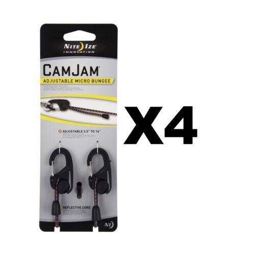 """14/"""" avec Biner Clips Nite Ize CamJam réglable Micro cordon élastique 3.5/"""" 4-Pack"""