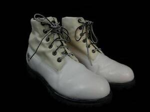 Timberland-White-Leather-Boots-Mens-11-M-Fabric-Collar-Black-Soles