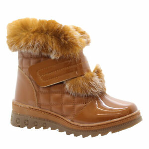 NEW GIRLS KIDS WINTER SNOW WARM POMPOM FUR ZIP FLAT QUILT BIKER SHOES BOOTS SIZE
