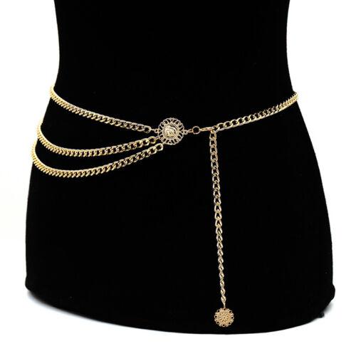 Women Metal Chain Retro Belt High Waist Hip Coin Charms Waistband Body Chai MW