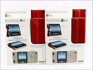 iSound-New-Genuine-Leather-iPad-and-or-iPad-Keyboard-Portfolio-Free-Shipping-Red
