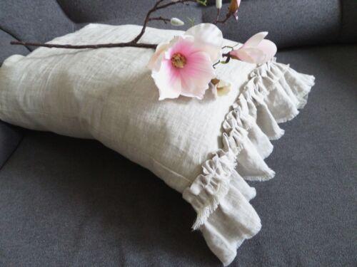 100% Linen Pillow case with ruffle Linen ruffled pillowcase queen pillow cover