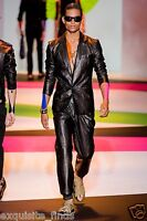 Brand Versace Black Snake Print Leather Pants