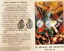 ST. MICHAEL SAINT MICHAEL 4 BLESSED MEDALS PRAYER CARD HOLY WATER SEA SALT SCENT