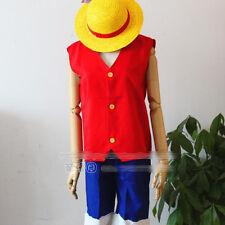 One Piece Cosplay Monkey D Luffy Straw Hat Top Pants Uniform Costume Medium Size
