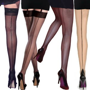 2353fb6642ca4 Back Seamed Line Tights Burlesque 40' 50's Seamer Vintage Retro ...