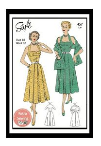 1940s-Halter-Dress-and-Stole-Vintage-Sewing-Pattern-38-Bust