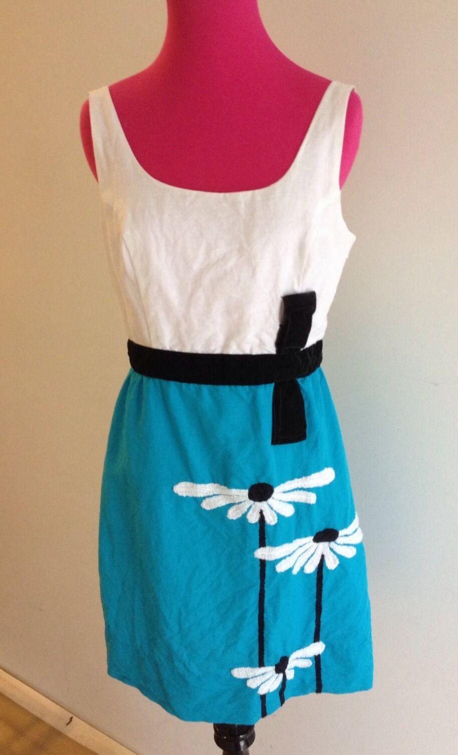 ON SALE AUTH BETSEY JOHNSON blueE & WHITE W FLOWERS LINEN DRESS-8