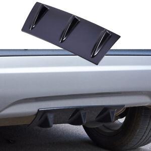 Universal ABS Car Lower Rear Body Bumper Lip Diffuser Shark Fin Spoiler Black