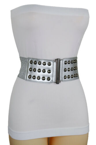 Women Fashion Silver Elastic Band Belt Hip High Waist Pewter Metal Studs Size M