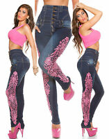 Sexy Women High Waist Skinny Leg Jeans Ladies Pink Lace Trouser size 8 10 12 14