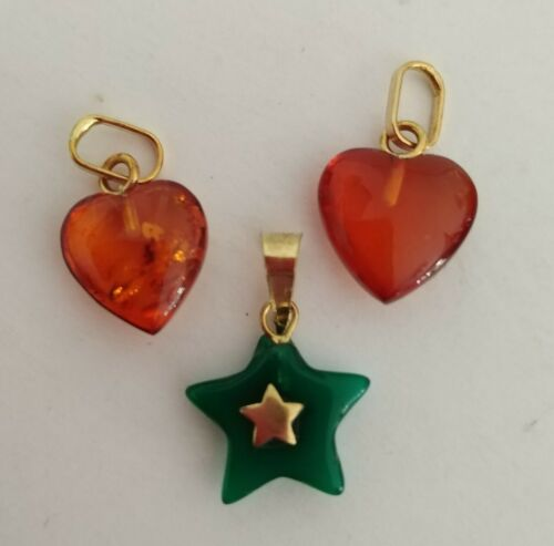 Vintage heart, start pendants and 18 carat yellow