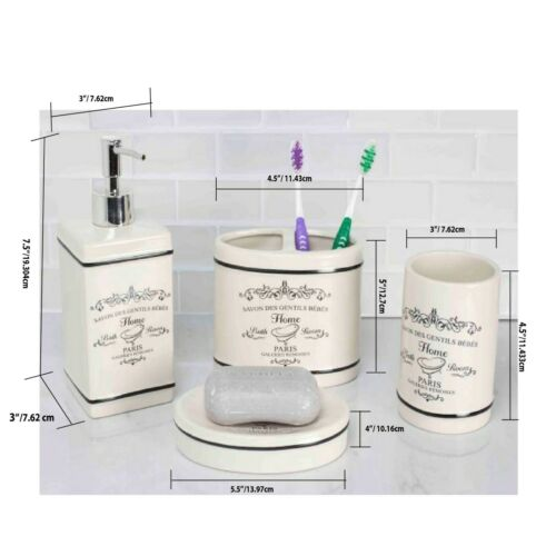 BA41266 Home Basics NEW Paris Collection 4 Piece Bathroom Accessory Set