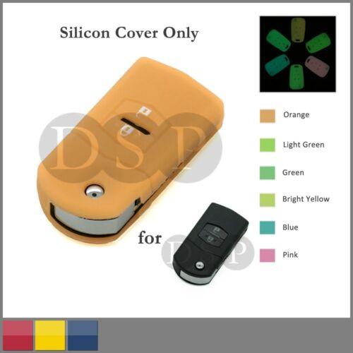 Night Glow Silicone Cover fit for MAZDA Flip Remote Key Case 2 BTN 6 CLR Neon OR