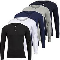 Jules Henley Y-neck Longsleeve T-shirt Langarmshirt Herren Tolle Passform Neu