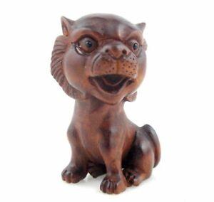 Boj-Tallado-a-Mano-Japones-Articulo-Escultura-Grande-Cabeza-Gato-Kitty-12181902