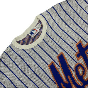 VTG 80's NEW Large Cliff Engle NY Mets Pinstripe Crew Neck Sweater Made USA