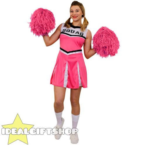 LADIES PINK HIGH SCHOOL CHEERLEADER ADULTS FANCY DRESS COSTUME WITH POM POMS