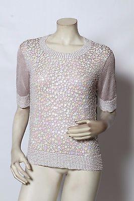 RONDINA Designer Etcetera Powder Pink All Over Sequin Top Blouse
