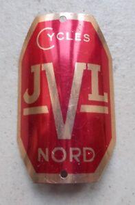 Plaque-de-cadre-Velo-ancienne-JVL-Nord-France-Bicyclette-cycles-vintage