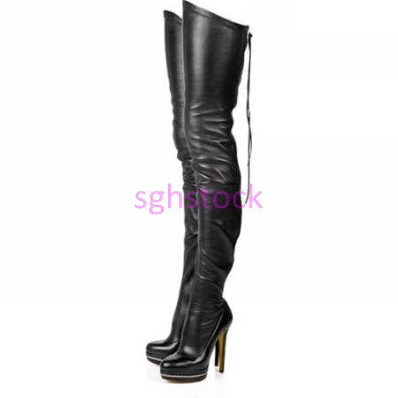 Sexy femmes Leather Zip Stilettos High Heel Over Knee Thigh bottes Nightclub chaussures