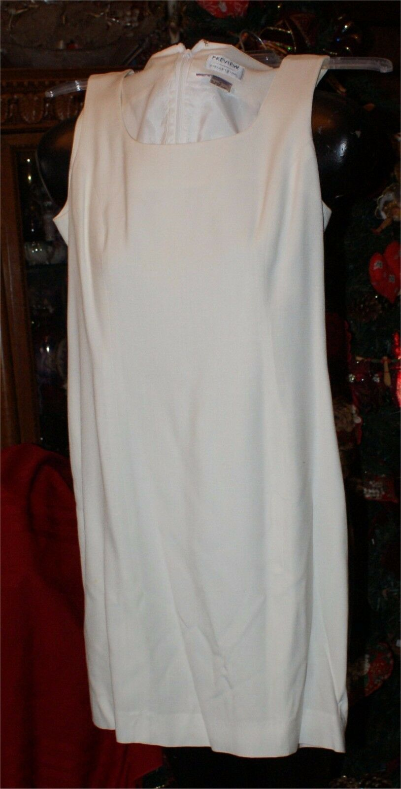Preview Collection LITTLE WHITE Dress  Sleeveless LINEN /RAYON  SIZE 6