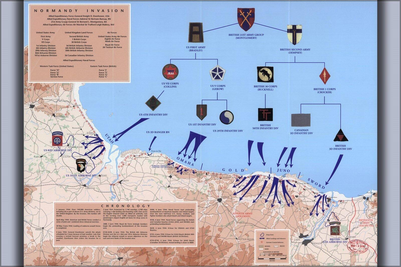 Plakat, Viele Größen; Karte von D-Day Normandie, 6. Juni 1944
