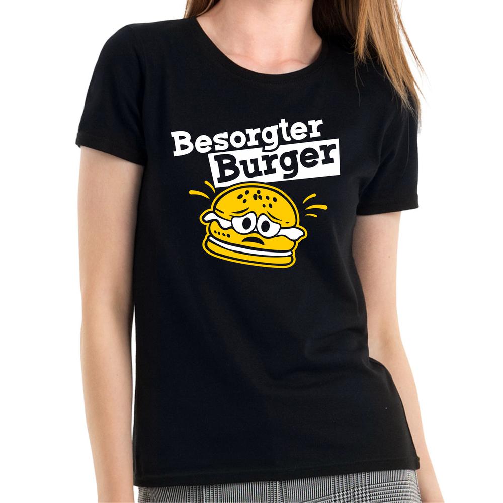 2019 Nouveau Style Inquiet Burger Citoyens Hamburger Cartoon Comedy Plaisir Fun Femmes Fille T-shirt