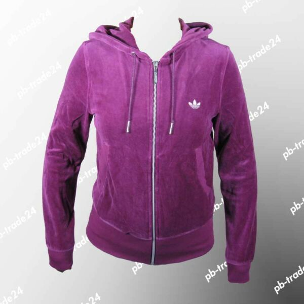 Adidas Night Velour Damen Sportjacke Kapuzensweat Hoody Hoodie violett Lila
