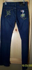 DON ED HARDY WOMEN'S BLUE JEANS SIZE 5/6 INSEAM 32 1/2 INCHES IN GOOD CONDITION