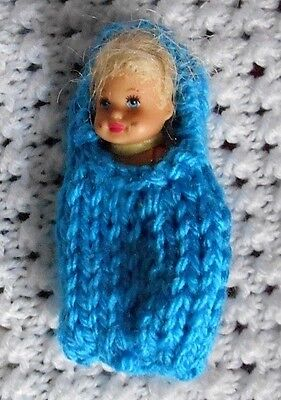 """Doll Clothes Turquoise Baby Cocoon Fits 3"""" Krissy, 2.5"""" Kewpie"""