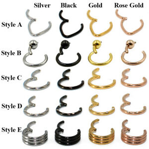 Surgical-Steel-Body-Jewelry-Hinged-Segment-Nose-Septum-Clicker-Piercing-Ring