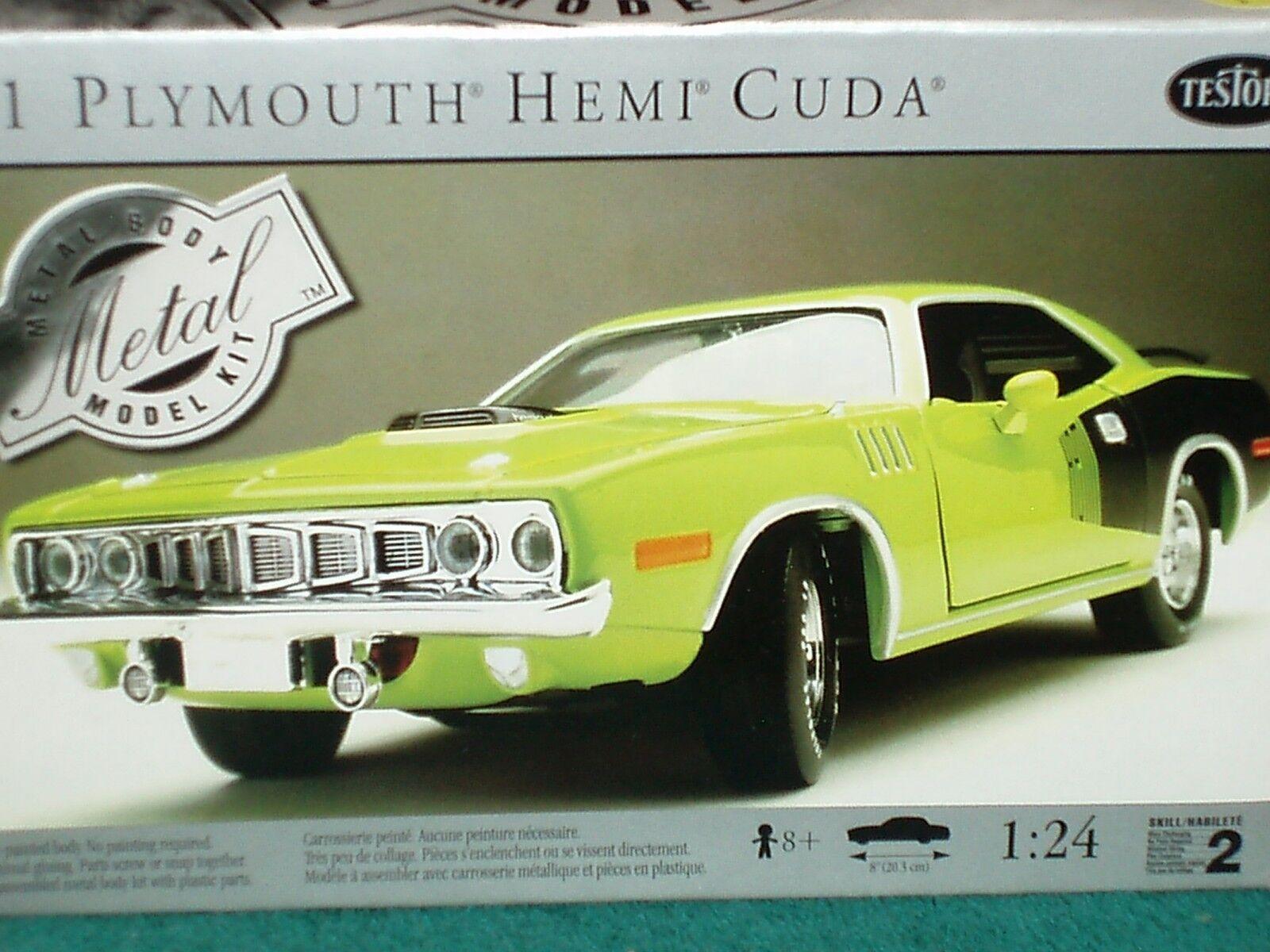 Testors 1971 Plymouth Barracuda Cuda vert MODEL KIT 1 24 Skill 2