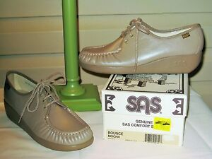 SAS Bounce Womens Mocha Leather Walking Oxford Shoes - NEW IN BOX