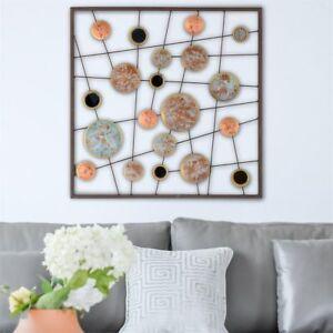 Details zu Wandbild Metallbild Kreise Linien Wanddeko Wohnzimmer 50x50cm  modern Design