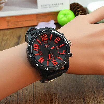 New unisex Women Men big dial silicone strap Quartz sport wrist watch students